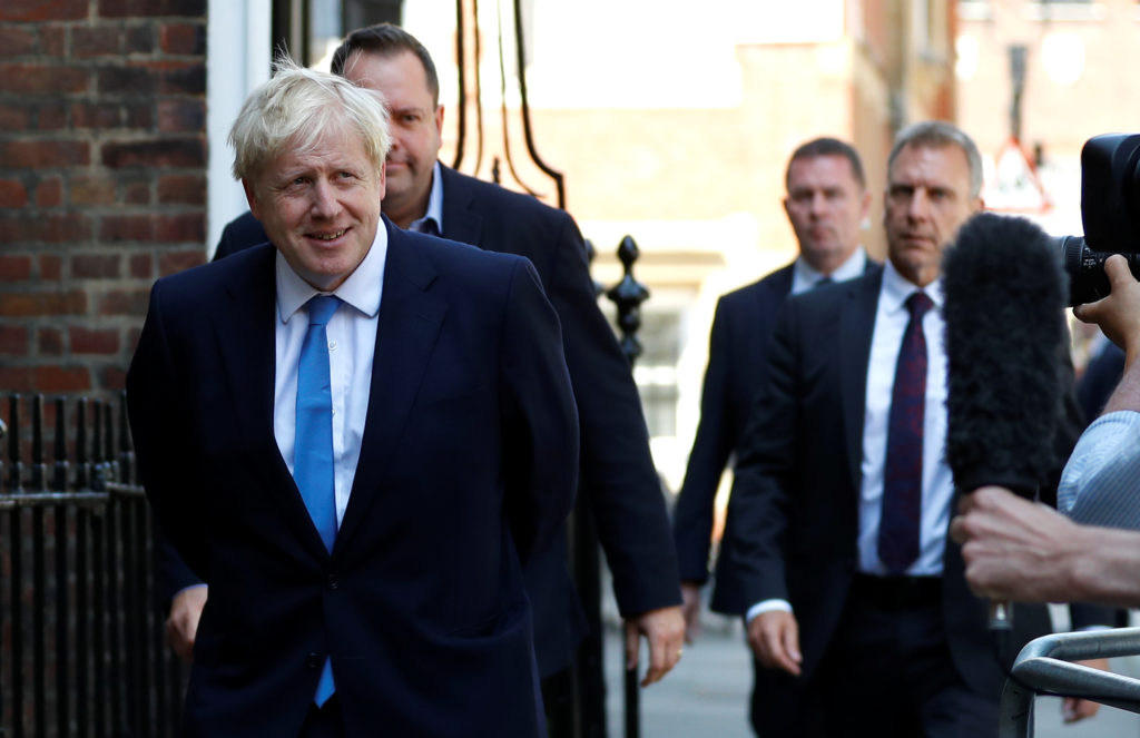 Boris Johnson is seen outside his campaign headquarters after being announced as Britain's next Prime Minister in London, ...