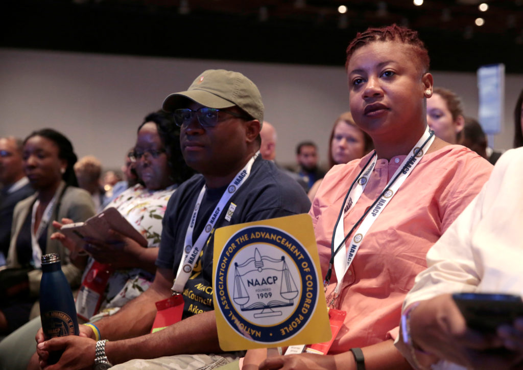 NAACP member Melencia Johnson listens to speakers during the annual convention of the National Association of the Advancement for Colored People in Detroit, Michigan, on July 24, 2019. Photo by Rebecca Cook/Reuters