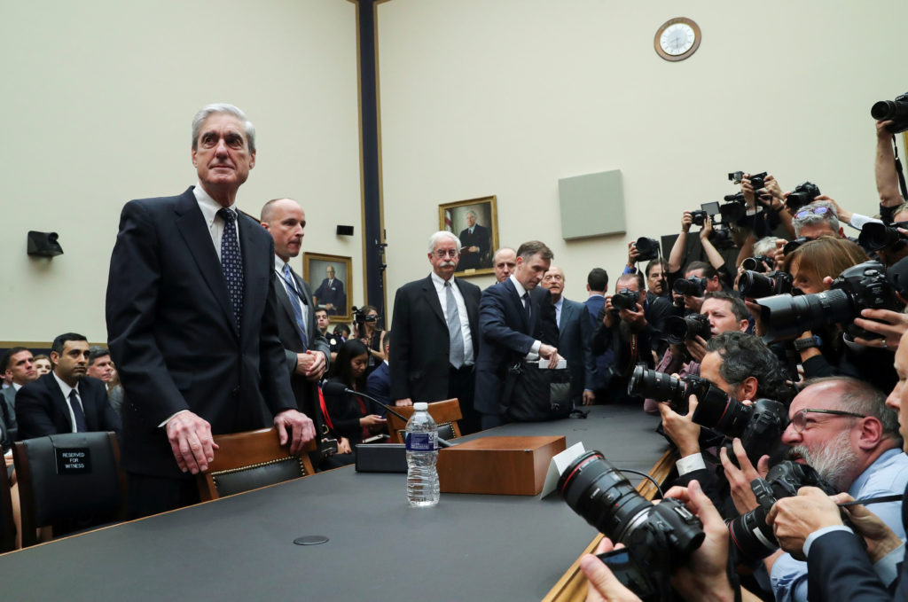 """Former Special Counsel Robert Mueller arrives to testify before a House Judiciary Committee hearing on the Office of Special Counsel's investigation into Russian Interference in the 2016 Presidential Election"""" on Capitol Hill in Washington, D.C. Photo by Leah Millis/Reuters"""