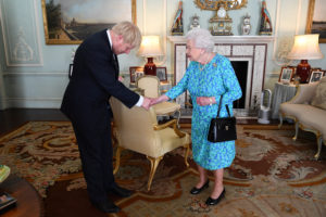Queen Elizabeth II welcomes Boris Johnson during an audience in Buckingham Palace, where she will officially recognise him as the new Prime Minister, in London, Britain July 24, 2019. Victoria Jones via Reuters