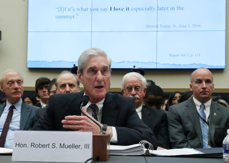 Former Special Counsel Robert Mueller testifies before the House Intelligence Committee at a hearing on the Office of Special Counsel's investigation into Russian Interference in the 2016 Presidential Election on Capitol Hill in Washington, D.C. Photo by Leah Millis/Reuters