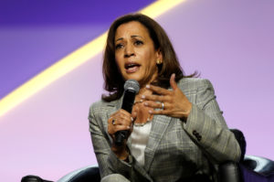 Democratic U.S. Presidential candidate Senator Kamala Harris addresses the audience during the Presidential candidate forum at the annual convention of the National Association for the Advancement of Colored People (NAACP), in Detroit, Michigan, July 24, 2019. Photo by Rebecca Cook/Reuters