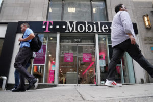 A T-Mobile store is pictured in the Manhattan borough of New York City on May 20, 2019. Photo by Carlo Allegri/Reuters