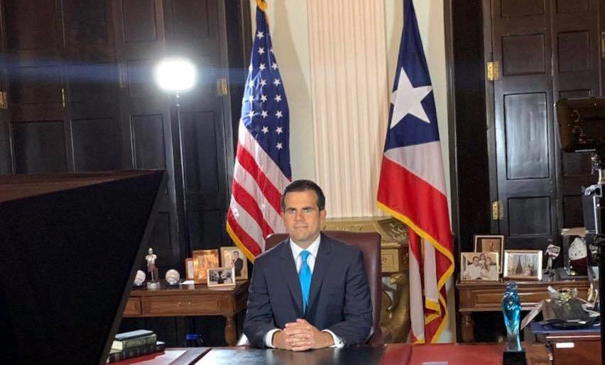 Puerto Rico Governor Ricardo Rossello speaks as he announces his resignation in San Juan, Puerto Rico, early July 25, 2019. Photo by La Forteleza de Puerto Rico/Handout via Reuters