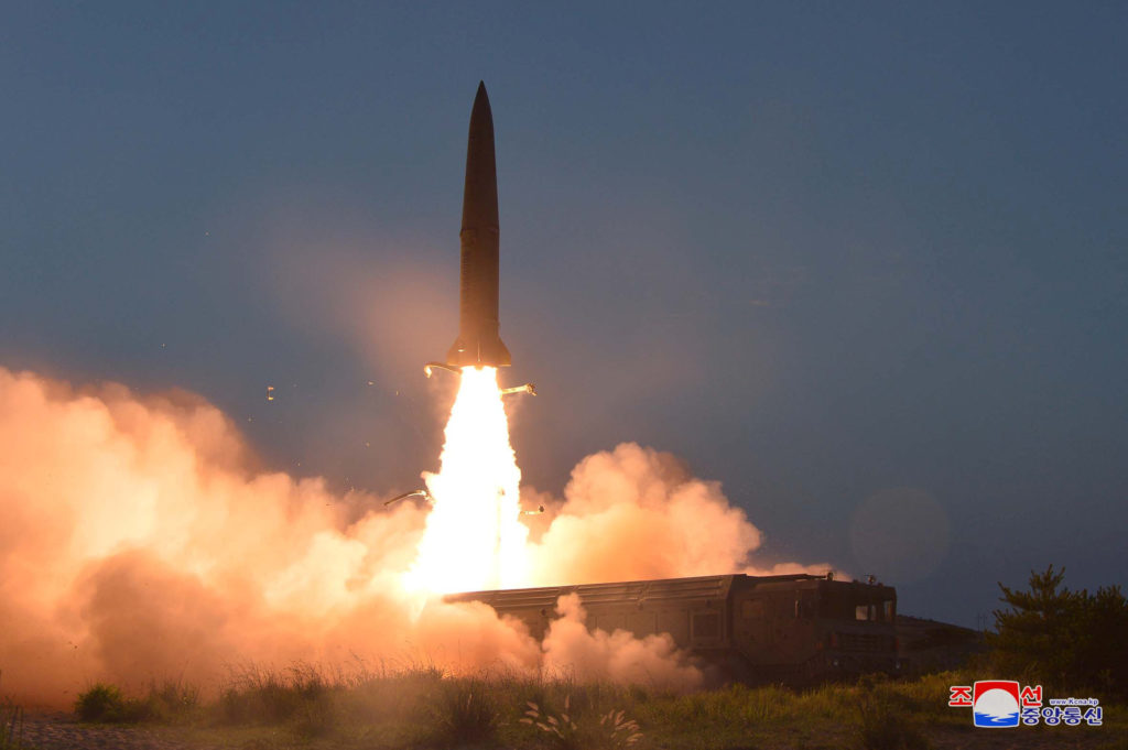 A view of North Korea's missile launch on Thursday, in this undated…