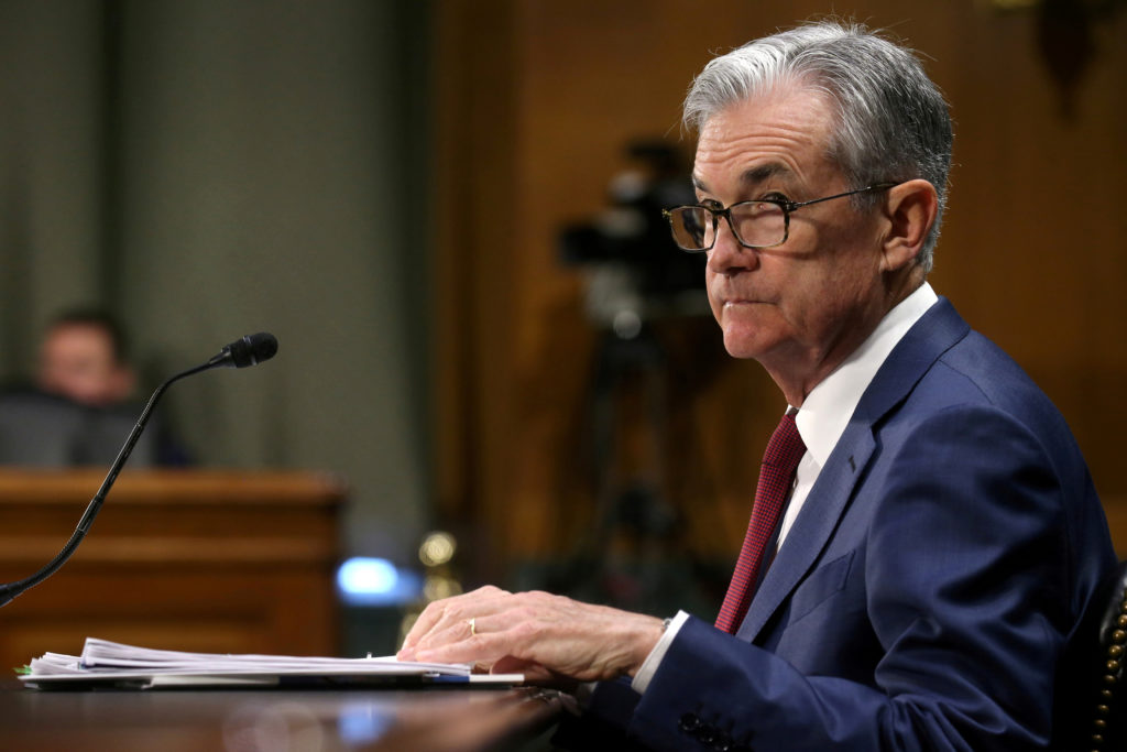 """Federal Reserve Board Chairman Jerome Powell testifies before a Senate Banking, Housing and Urban Affairs Committee hearing on the """"Semiannual Monetary Policy Report to Congress"""" on Capitol Hill in Washington DC, July 11, 2019. Photo by Leah Millis/Reuters"""
