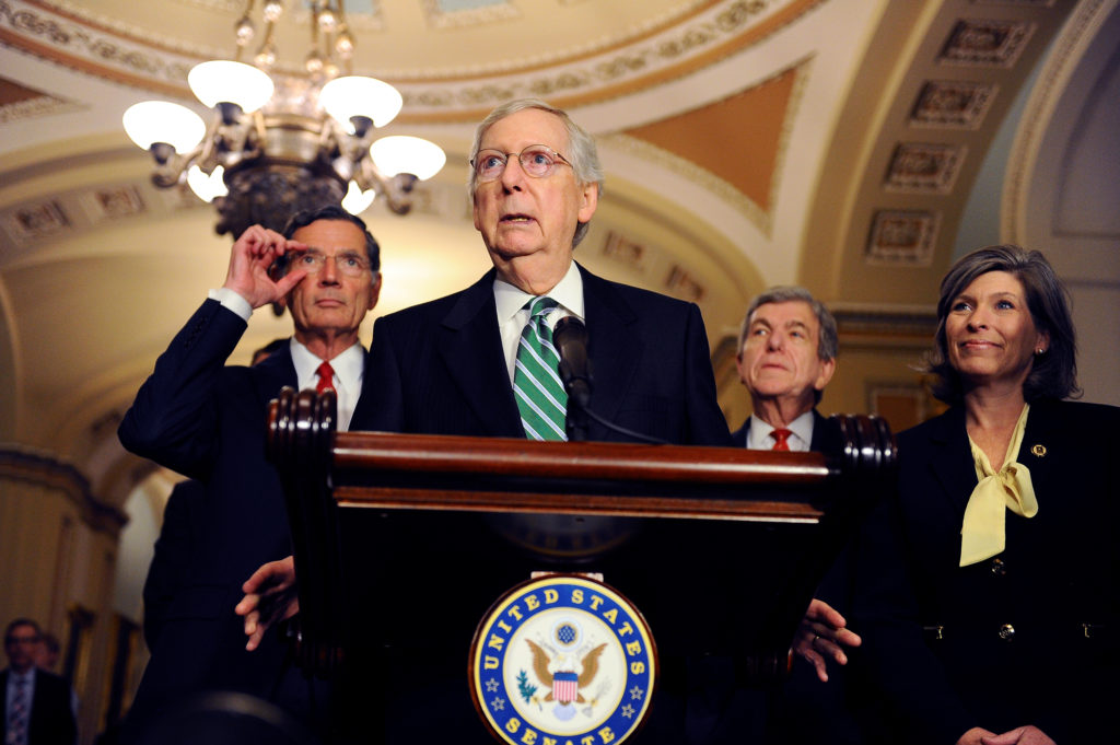 Senate Majority Leader Mitch McConnell (R-KY) and other Senate Republicans hold a news conference to discuss Senate policy...