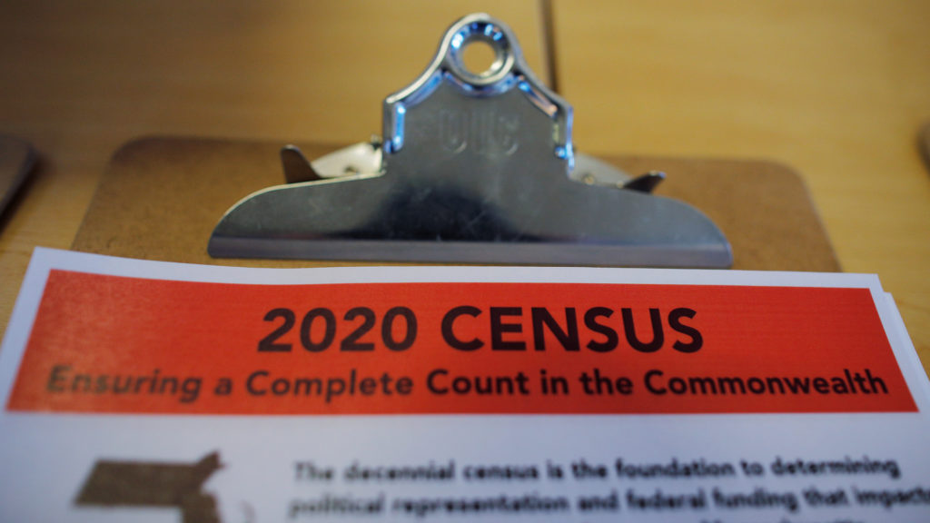An informational pamphlet is displayed at an event for community activists and local government leaders to mark the one-year-out launch of the 2020 Census efforts in Boston, Massachusetts, U.S., April 1, 2019. Photo by REUTERS/Brian Snyder