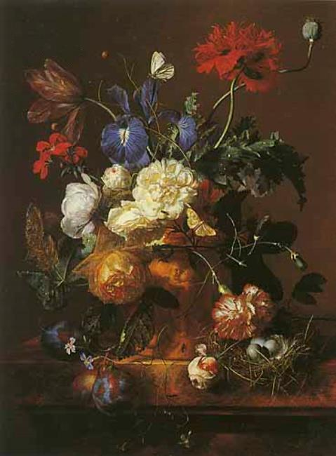 "The ""Vase of Flowers"" painting by Jan van Huysum. Photo via Wikimedia Commons"