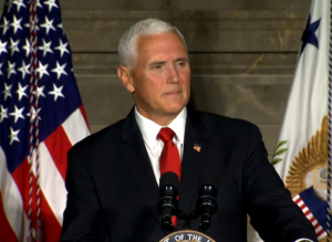 Vice President Mike Pence speaks during a naturalization ceremony on July 4, 2019.