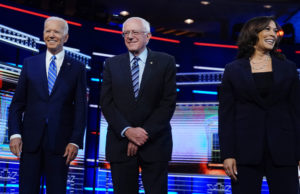 Democratic U.S. 2020 election presidential candidates including former Vice President Joe Biden, Senator Bernie Sanders and Senator Kamala Harris at the 2020 presidential election Democratic candidates debate in Miami on June 27, 2019. Photo by Carlo Allegri/Reuters