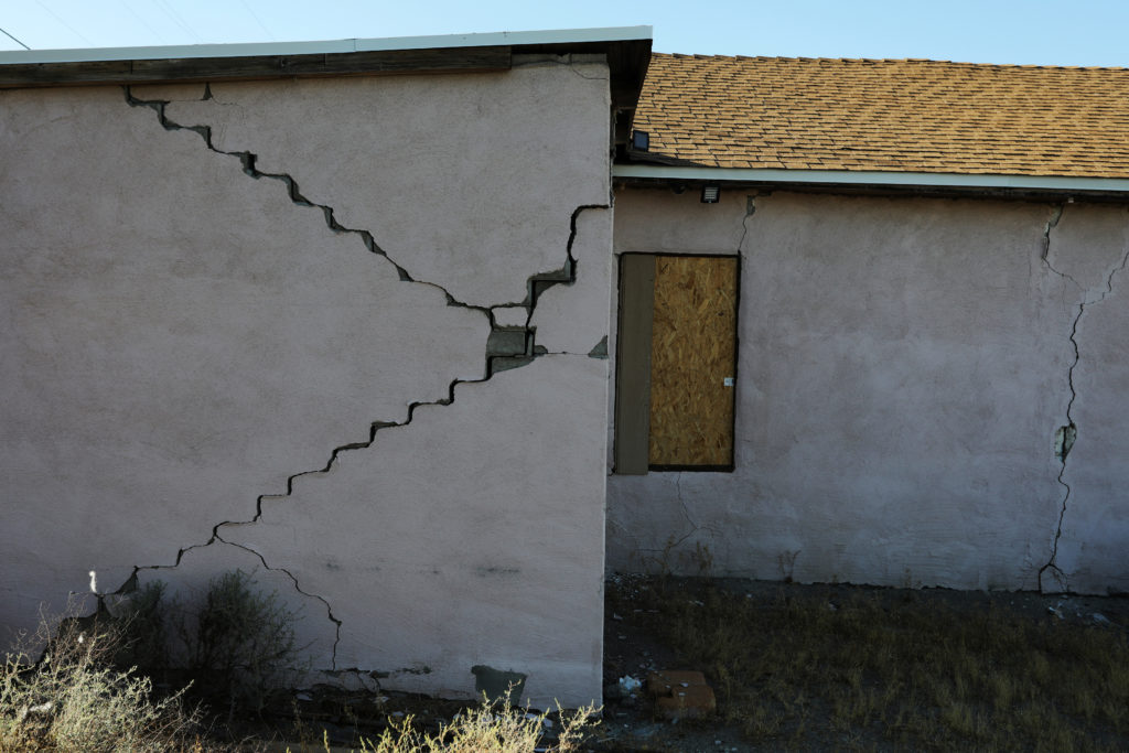 A house is seen damaged from a powerful earthquake that struck Southern California, near the epicenter, northeast the city of Ridgecrest, California, U.S., July 4, 2019. Photo by David McNew/Reuters