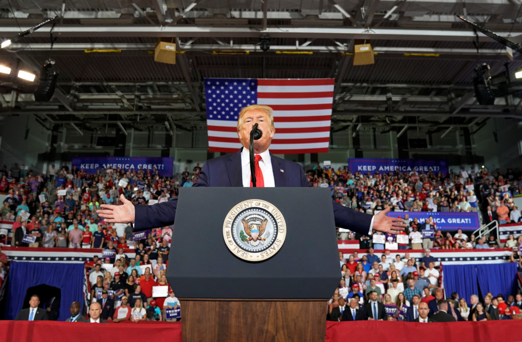 U.S. President Donald Trump speaks at a campaign rally in Greenville, North Carolina, U.S., July 17, 2019. REUTERS/Kevin Lamarque