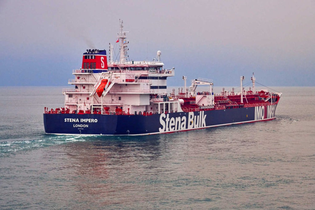 Undatedhandout photograph shows theStenaImpero, a British-flagged vessel owned byStenaBulk, at anundisclosedlocation, obtained by Reuters on July 19, 2019. Stena Bulk via Reuters