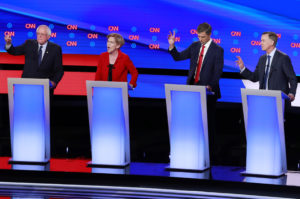 U.S. Senator Bernie Sanders, U.S. Senator Elizabeth Warren, former U.S. Rep. Beto O'Rourke and former Colorado Governor John Hickenlooper (L-R) debate on the first night of the second 2020 Democratic U.S. presidential debate in Detroit, Michigan, U.S., July 30, 2019. REUTERS/Lucas Jackson - HP1EF7V03K9JF