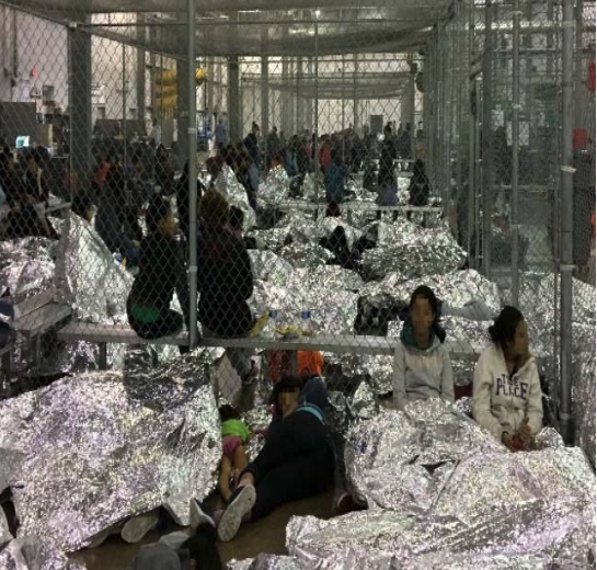 Families are crowded into a section of the Border Patrol's centralized processing center at McAllen, Texas. Photo courtesy: Department of Homeland Security's Office of the Inspector General