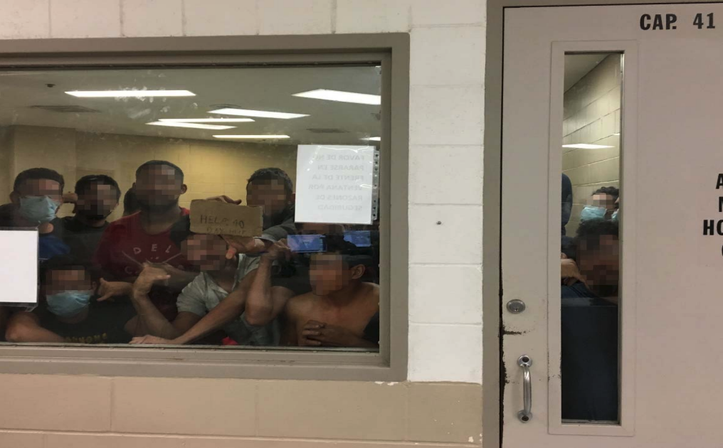 Eighty-eight men are held in a cell with a maximum capacity of 41 at the Border Patrol's Fort Brown Station in Texas. Photo courtesy: Department of Homeland Security's Office of the Inspector General