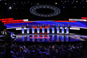 Democratic presidential candidates line up for an early debate. (Photo by Justin Sullivan/Getty Images)