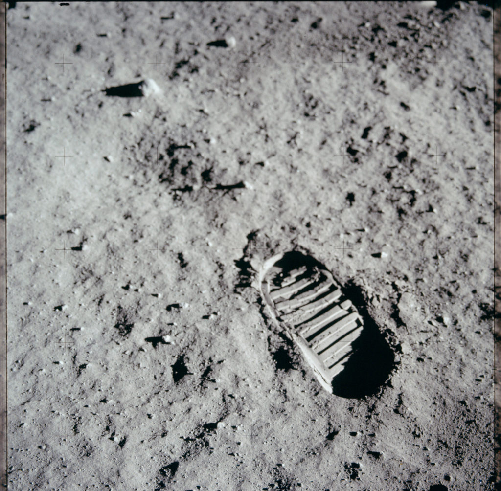 Footprint on the moon. Photo by NASA