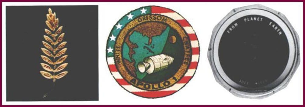 The figure shows a gold replica of an olive branch, a traditional symbol of peace, an Apollo 1 patch and a silicon message disk. Photo by NASA