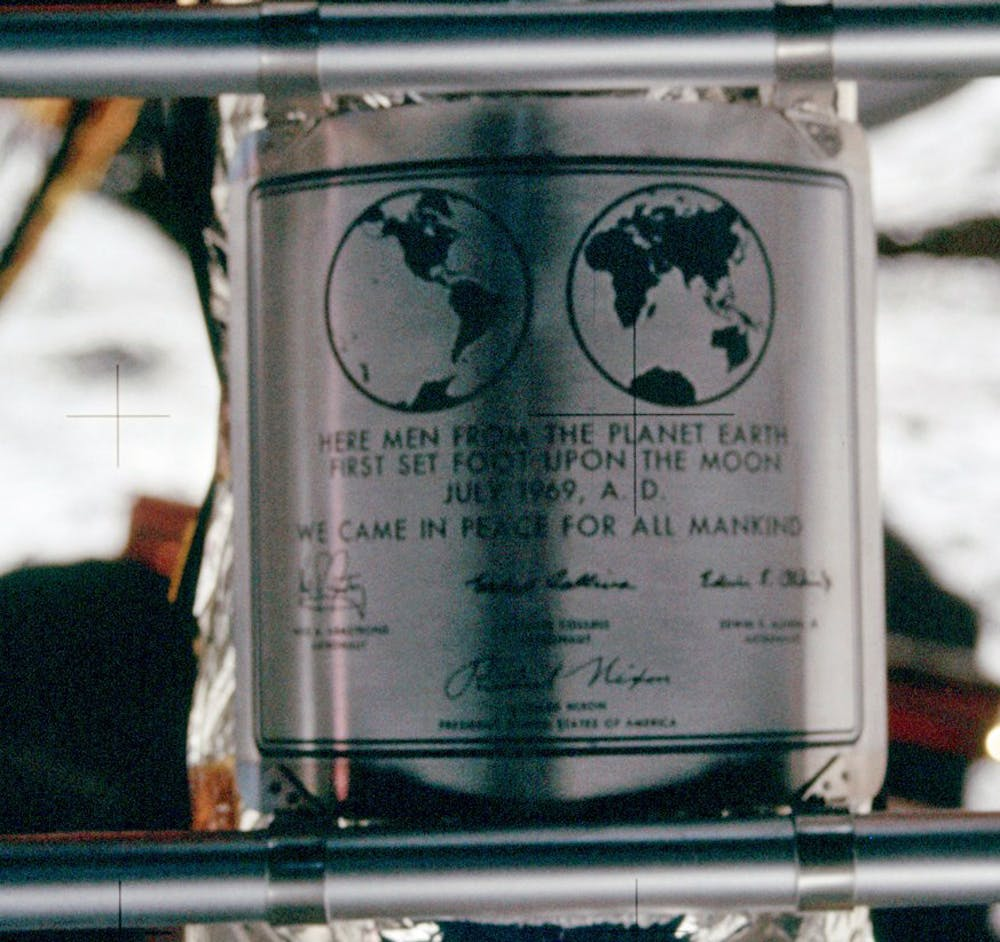 The Apollo 11 lunar module shows the stainless steel dedication plaque. The signatures are of the three Apollo 11 crew members and President Richard Nixon. Photo by NASA