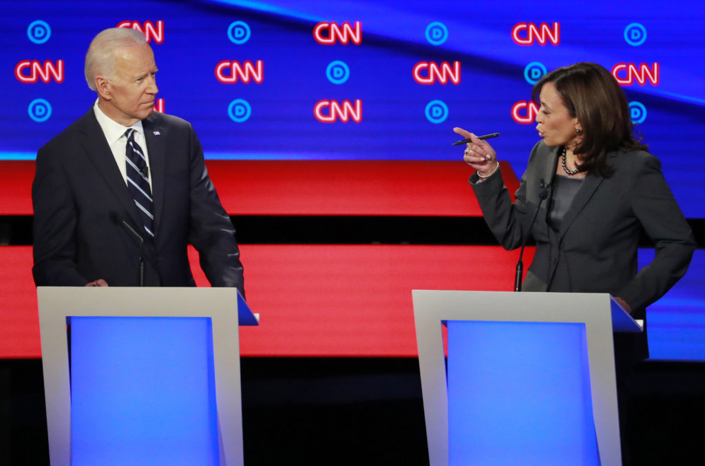 Sen. Kamala Harris points at former Vice President Joe Biden on the second night of the second 2020 Democratic U.S. presidential debate in Detroit, Michigan. REUTERS/Lucas Jackson