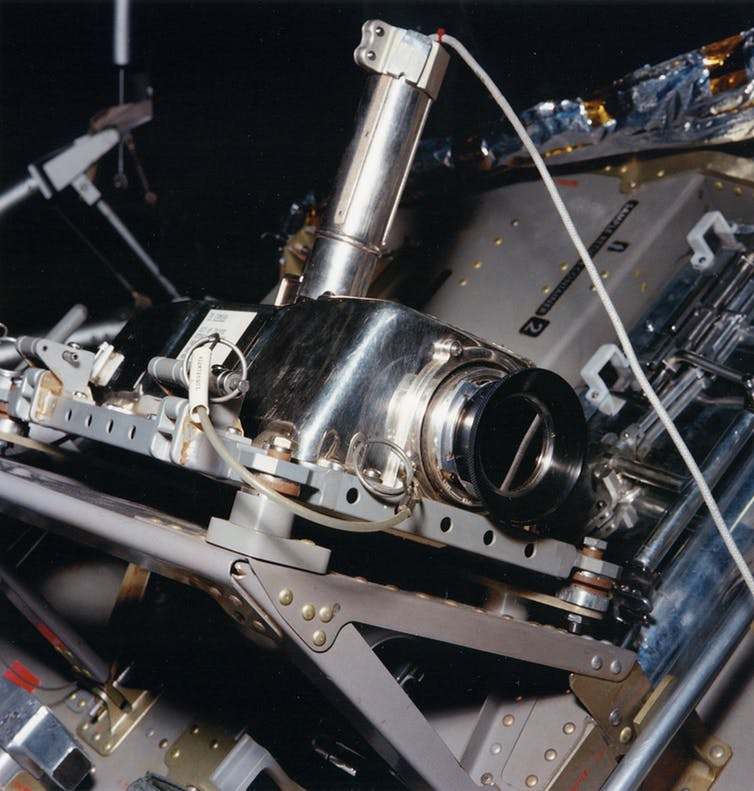 Apollo Lunar Television Camera, as it was mounted on the side of the Apollo 11 Lunar Module when it telecasted Armstrong's 'One small step'. Photo by NASA
