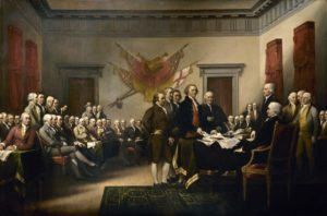 Declaration of Independence, an 1819 painting by John Trumbull depicting the Committee of Five presenting their draft to the Congress on June 28, 1776.
