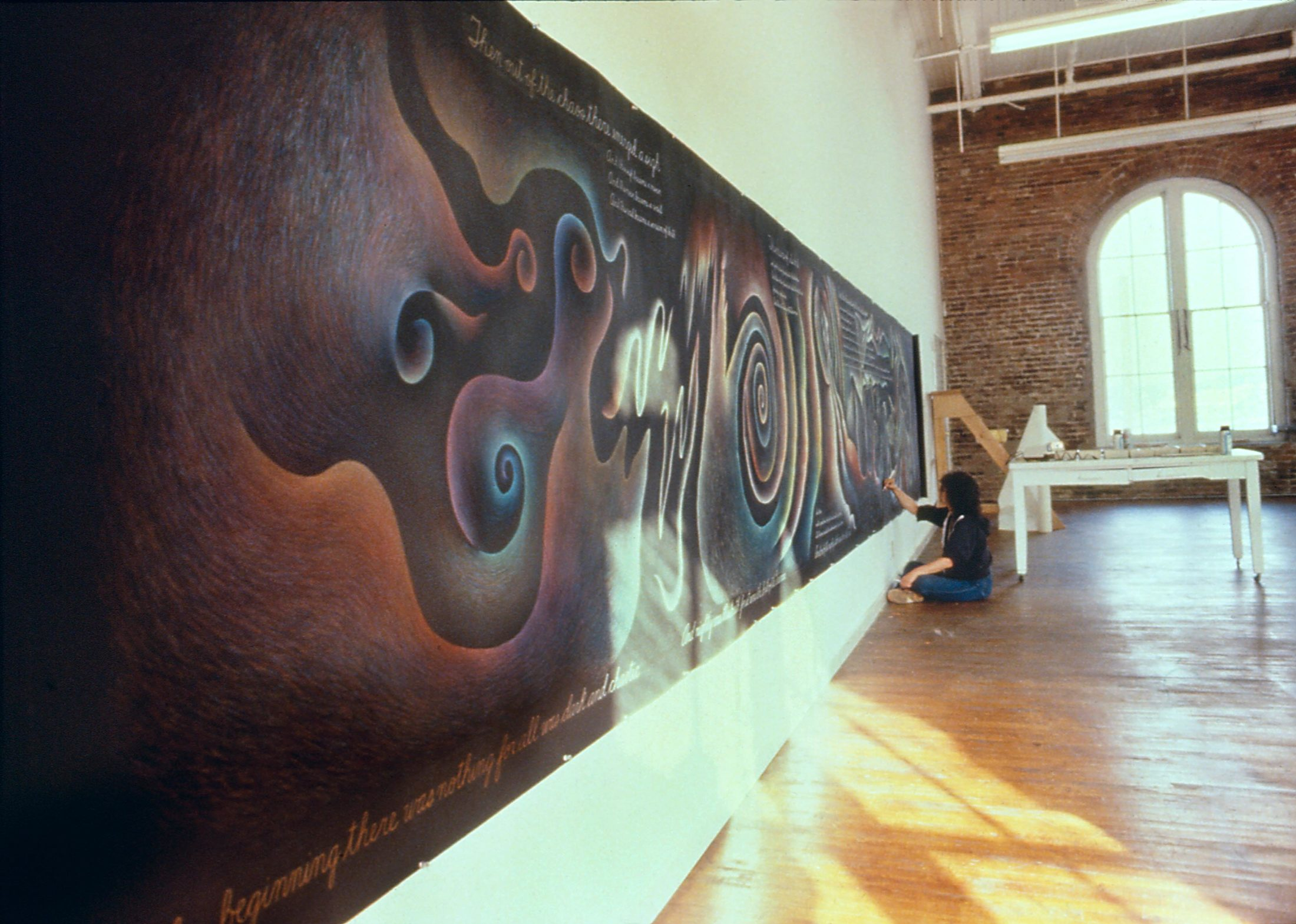 "Judy Chicago works on ""In the Beginning"" (1982). Photo courtesy of Through the Flower Archives"