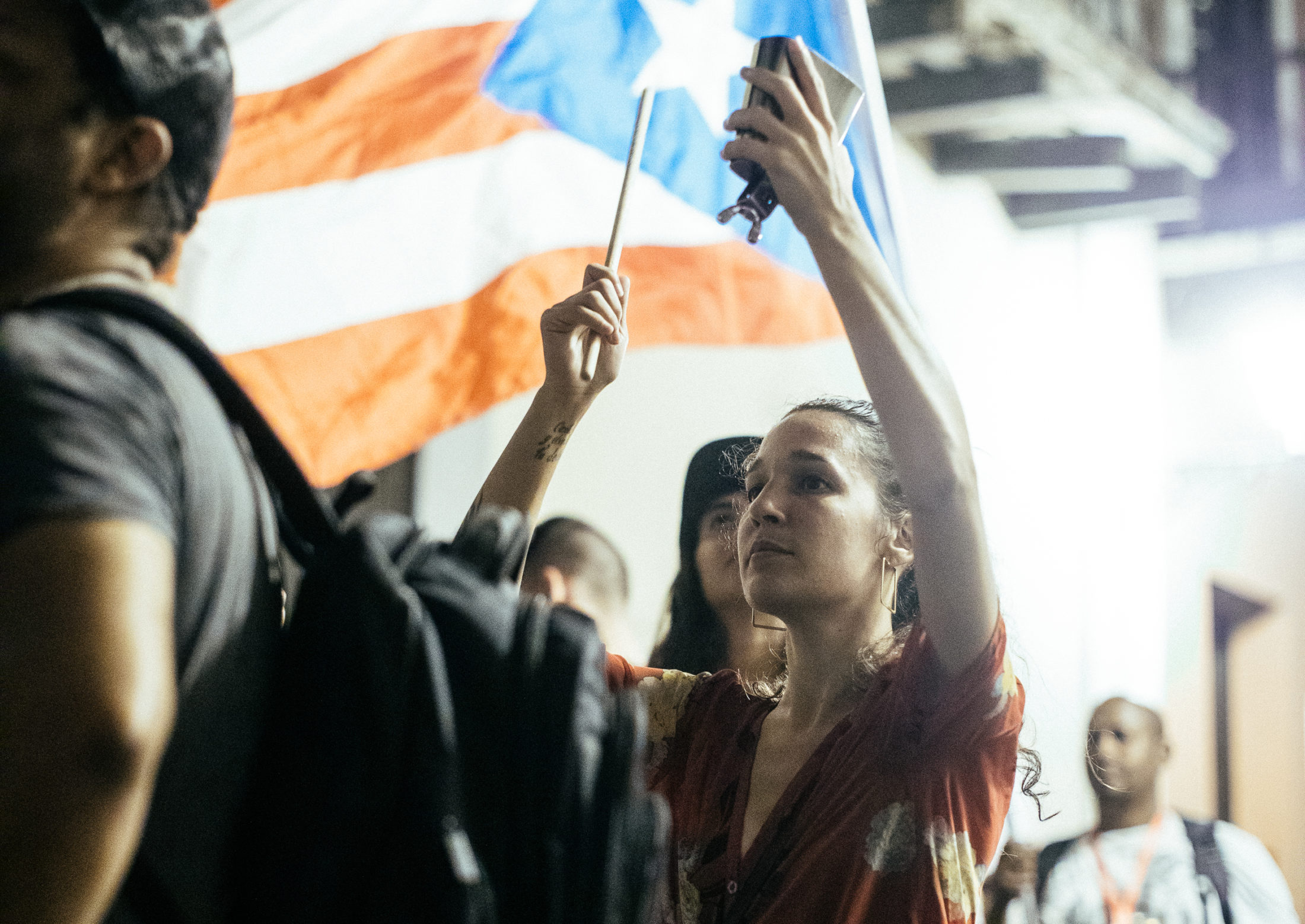 Singer iLe among the protest crowds in San Juan. Photo by Alejandro Pedrosa