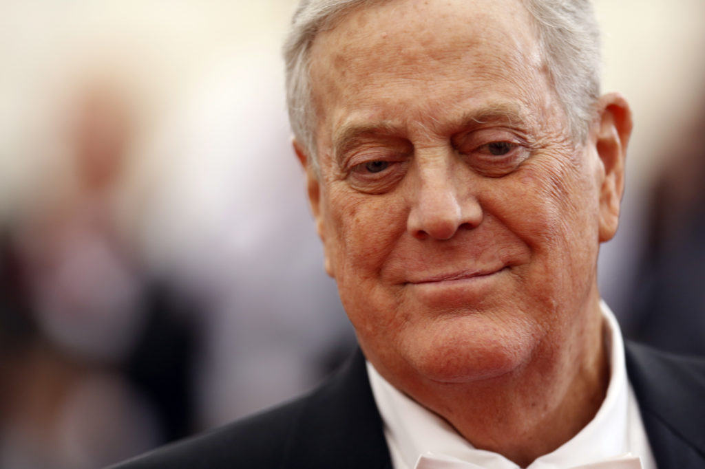 "Businessman David Koch arrives at the Metropolitan Museum of Art Costume Institute Gala Benefit celebrating the opening of ""Charles James: Beyond Fashion"" in Upper Manhattan, New York on May 5, 2014. Photo by Carlo Allegri/Reuters"