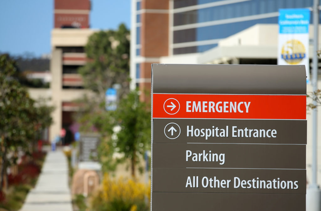 An emergency sign points to the entrance to Scripps Memorial Hospital in La Jolla, California, on March 23, 2017. Photo by Mike Blake/Reuters