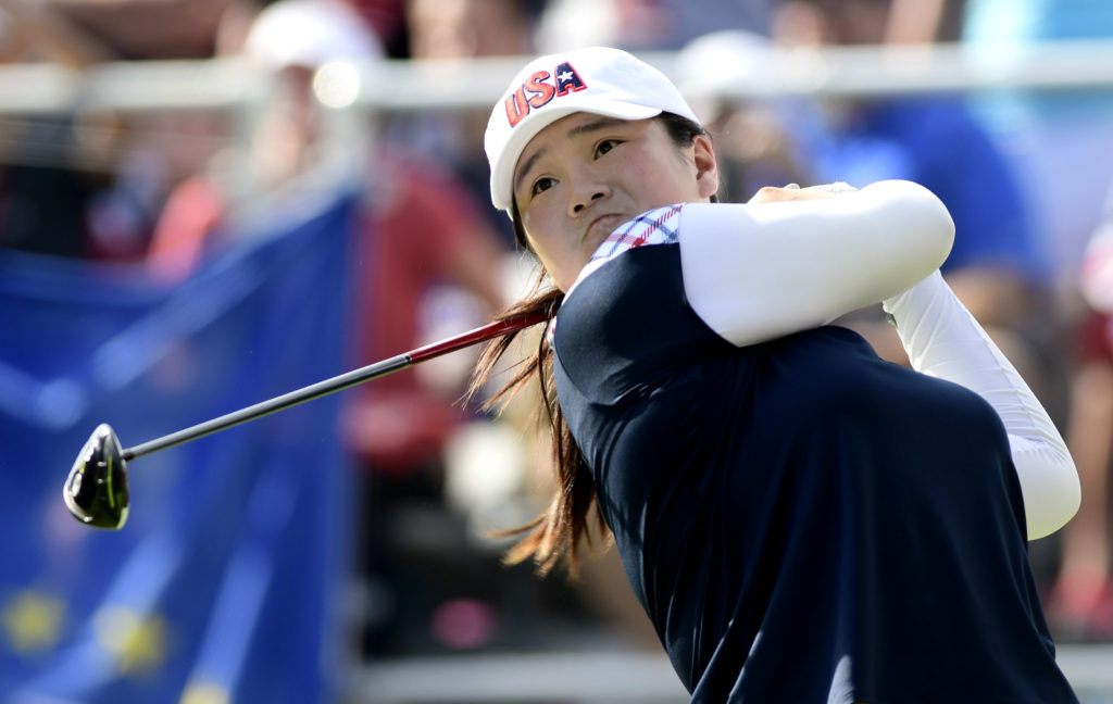 USA golfer Angel Yin tees off on the first hole in the final round of The Solheim Cup international golf tournament at Des Moines Golf and Country Club on Aug. 20, 2017. Yin will be part of the USA team in the 2019 Solheim Cup which begins Sept. 9. Credit: Thomas J. Russo-USA TODAY Sports
