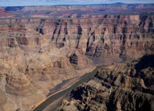 The Colorado River runs through the west rim of the Grand Canyon in Arizona, on February 28, 2018. Photo by Darrin Zammit Lupi/Reuters
