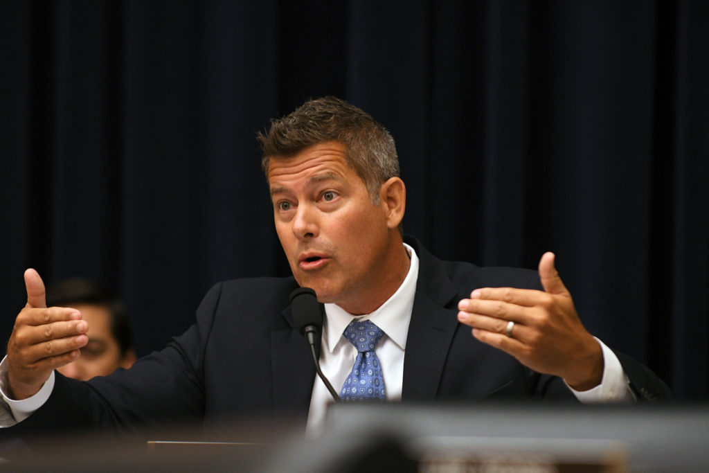 """Rep. Sean Duffy, R-WI, questions Federal Reserve Chairman Jerome Powell during his testimony before a House Financial Services Committee hearing on the """"Semiannual Monetary Policy Report to Congress"""", at the Rayburn House Office Building in Washington, July 18, 2018. Photo by Mary F. Calvert/Reuters"""