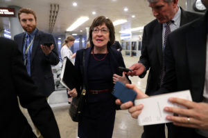 U.S. Senator Susan Collins (R-ME) speaks to reporters as she arrives for the weekly Republican Party caucus luncheon at the U.S. Capitol in Washington, U.S., February 26, 2019. Photo by Jonathan Ernst/Reuters