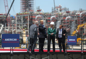 U.S. President Donald Trump speaks with managers and executives during a visit to the Cameron LNG (Liquid Natural Gas) Export Facility in Hackberry, Louisiana, on May 14, 2019. Photo by Leah Millis/Reuters