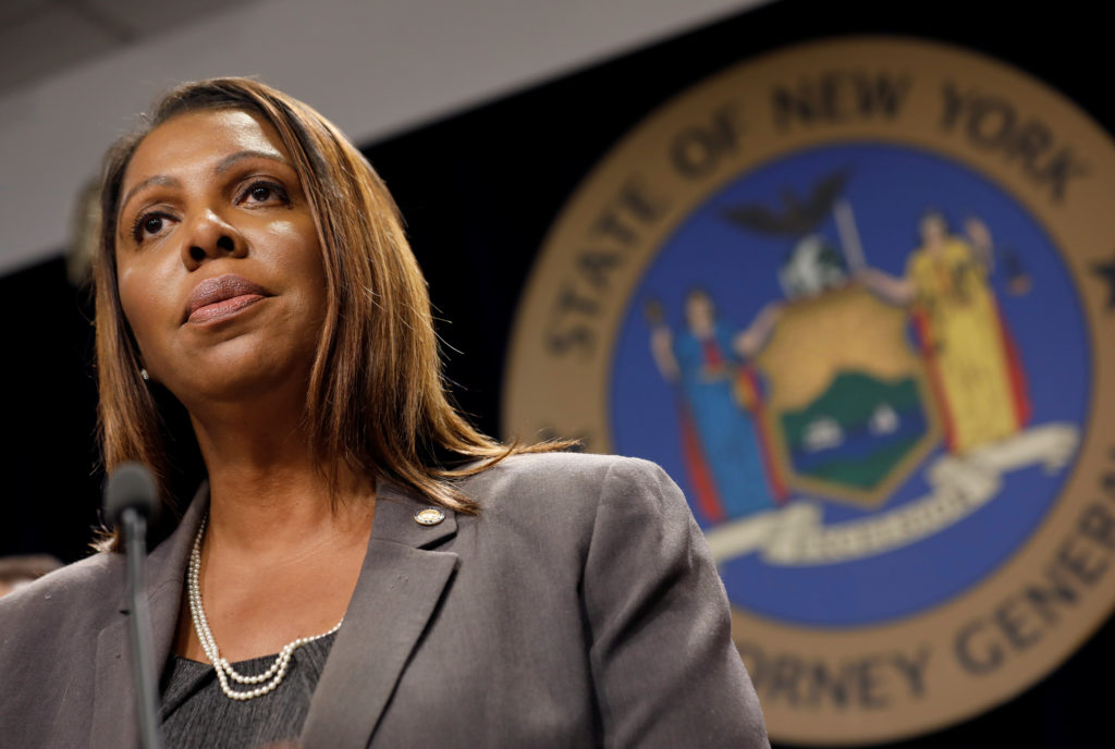 New York State Attorney General Letitia James speaks at a news conference on June 11, 2019. New York and two other states are suing the Trump administration over new immigration rules. Photo by Mike Segar/Reuters