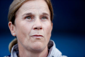 U.S. soccer coach Jill Ellis during the United States v. Thailand game at the 2019 World Cup in Reims, France on June 11, 2019. Photo by Christian Hartmann/Reuters