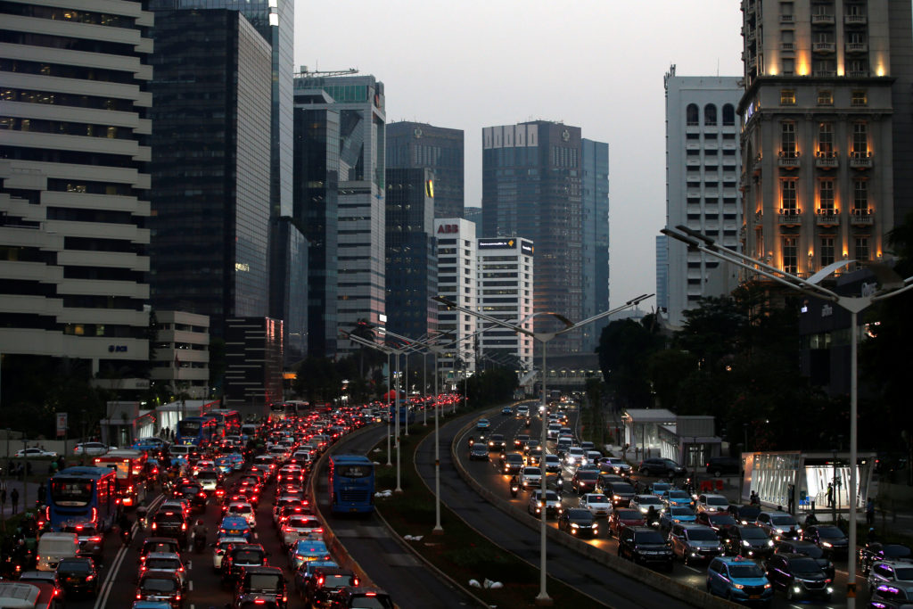 Business district is pictured during a traffic jam in Jakarta, Indonesia, June 20, 2019. Photo by Willy Kurniawan/Reuters