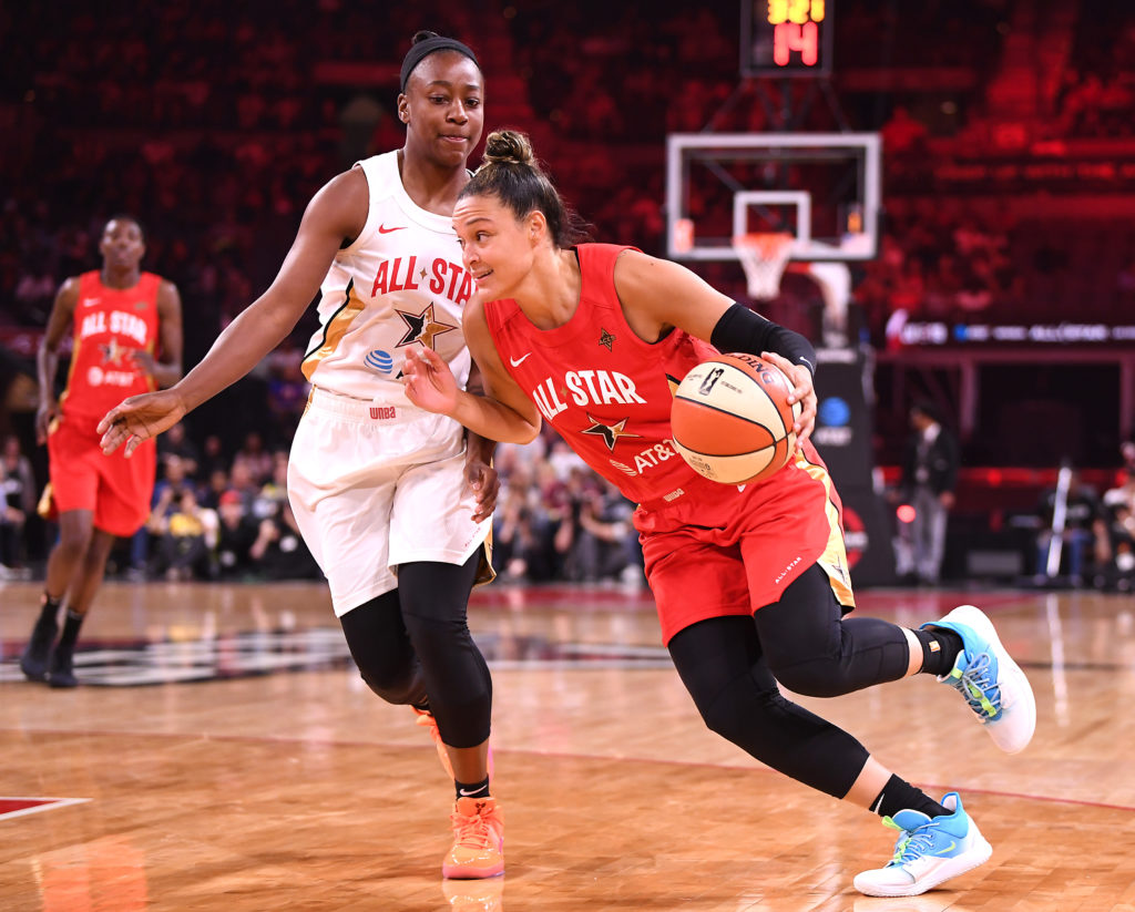 Guard Kayla McBride (21) dribbles against Jewell Loyd (24) during the first half of the WNBA All Star Game at Mandalay Bay Events Center on Jul 27, 2019. Mandatory Credit: Stephen R. Sylvanie-USA TODAY Sports