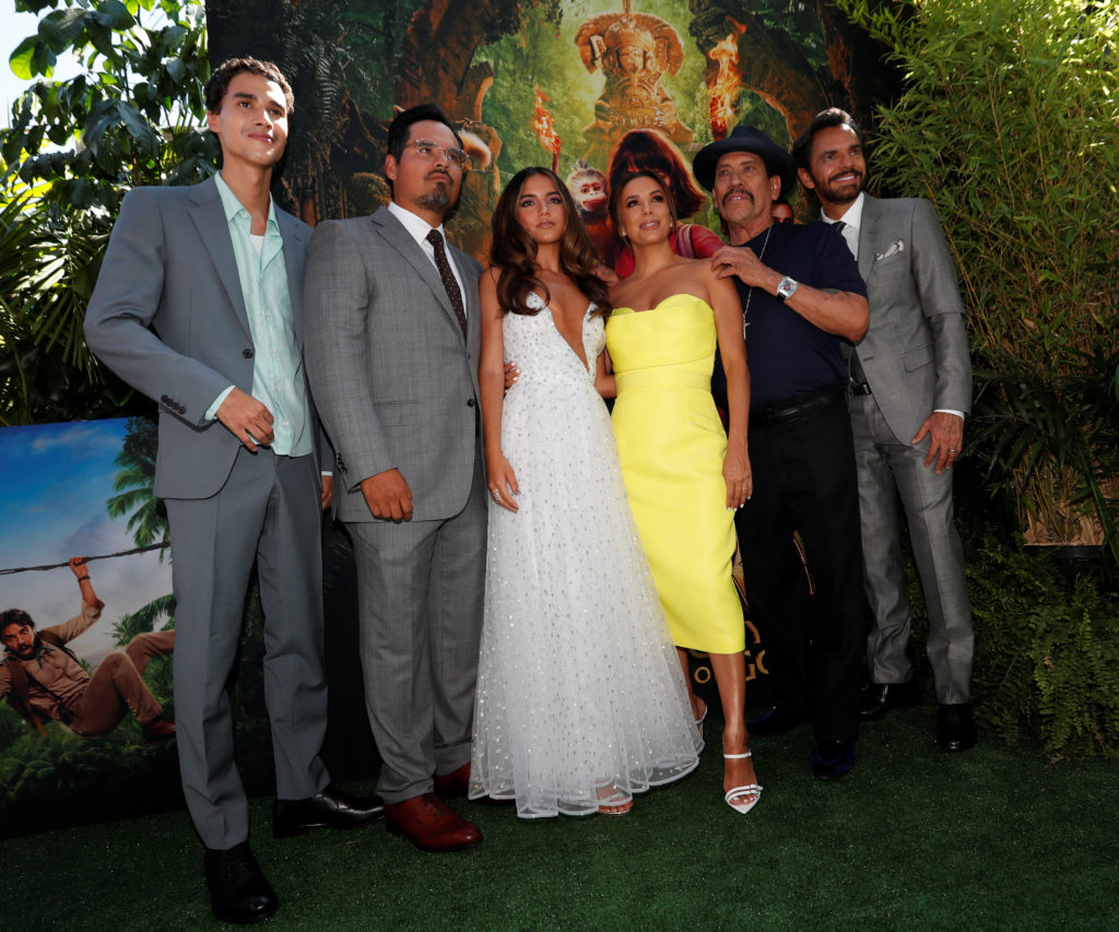 "Jeff Wahlberg, Michael Pena, Isabela Moner, Eva Longoria, Danny Trejo and Eugenio Derbez attend the premiere for the movie ""Dora and the Lost City of Gold"" in Los Angeles, California, U.S., July 28, 2019. A USC study looking at films between 2007 and 2018 found Latinos made up a small portion of actors in main roles. Photo by Mario Anzuoni/Reuters"
