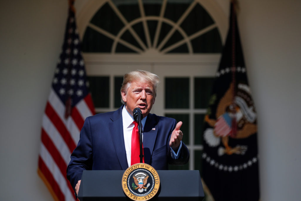 "FILE PHOTO: U.S. President Donald Trump speaks during a signing ceremony for the ""Permanent Authorization of the September 11th Victim Compensation Fund Act"" in the Rose Garden of the White House in Washington, U.S., July 29, 2019. REUTERS/Carlos Barria"