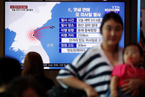 People watch a TV broadcast of a news report on North Korea firing short-range ballistic missiles, in Seoul, South Korea, July 31, 2019. Photo by Kim Hong-Ji/Reuters