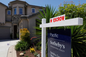 A single family home is shown for sale and in escrow in San Marcos, California, July 31, 2019. Photo by Mike Blake/Reuters