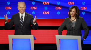Candidates former Vice President Joe Biden and Sen. Kamala Harris on the second night of the second 2020 Democratic U.S. presidential debate in Detroit, Michigan. Photo by Lucas Jackson/Reuters