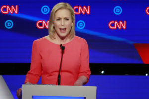 U.S. Senator Kirsten Gillibrand speaks on the second night of the second 2020 Democratic U.S. presidential debate in Detroit, Michigan, July 31, 2019. Photo by: Lucas Jackson/Reuters