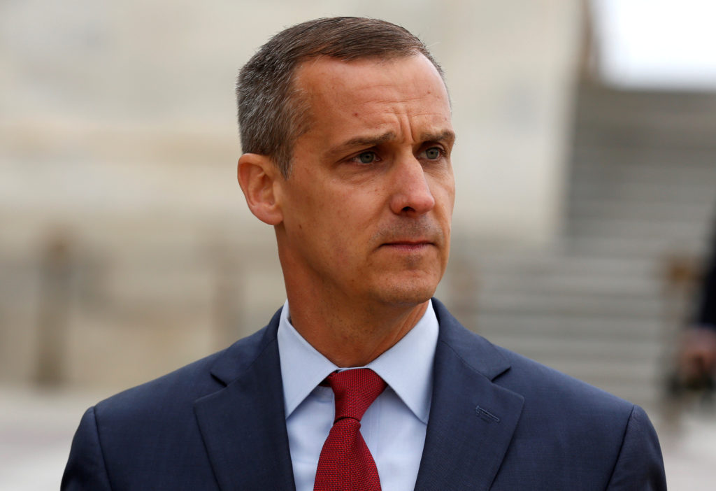 Former Trump campaign manager Corey Lewandowski departs after appearing before the House Intelligence Committee on Capitol...