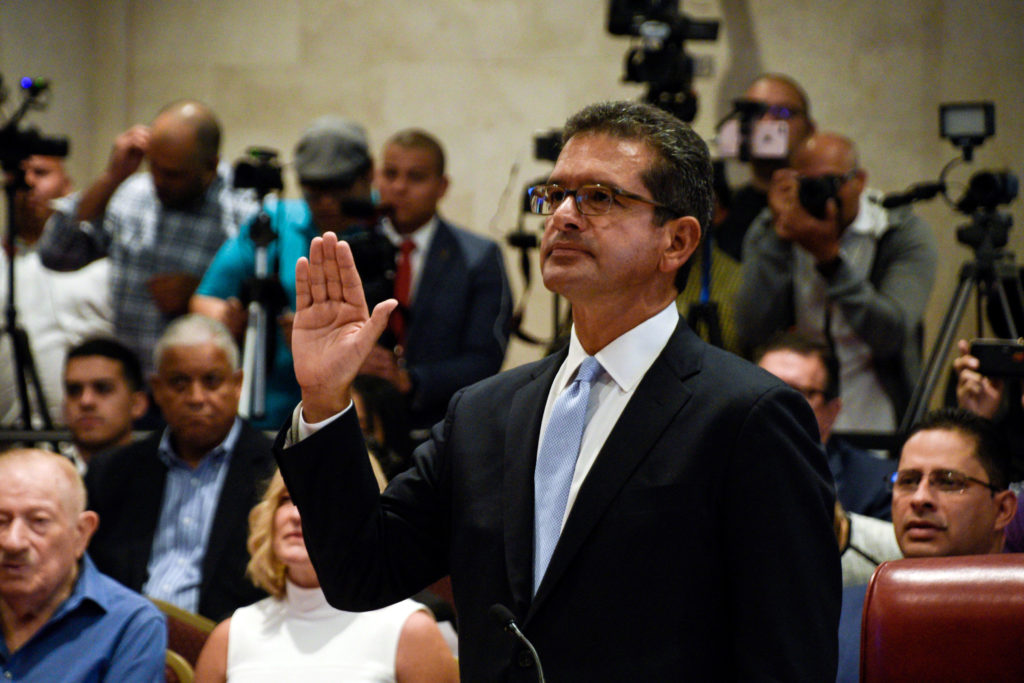 Pedro Pierluisi swears to attend his nomination as Secretary of State during a public hearing of the Commission of Government of the House of Representatives called upon by the President of the House, Johnny Mendez, hours before Ricardo Rossello steps down as Governor of Puerto Rico, in San Juan, Puerto Rico August 2, 2019. Photo by Gabriella N. Baez/Reuters
