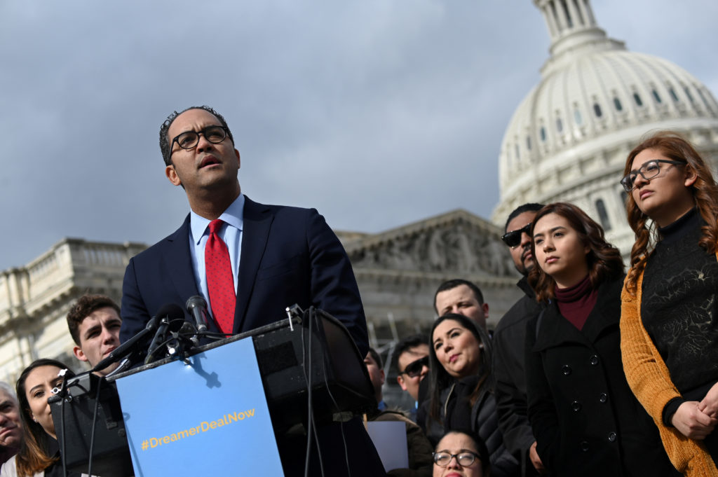 FILE PHOTO: U.S. Rep. Will Hurd (R-TX) speaks at a news conference with Dreamers, immigration rights activists and others in support of a deal that delivers a permanent solution for Dreamers and funds for border security in congressional shutdown negotiations outside the Capitol in Washington, U.S. February 13, 2019. Photo by Erin Scott/Reuters